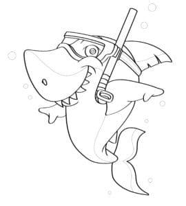 דף צביעה עם כריש חמוד