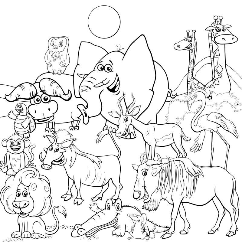 דפי צביעה עם חיות