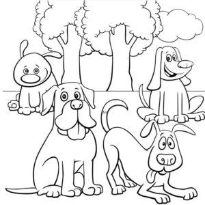 דף צביעה עם כלבים ארבע חמודים