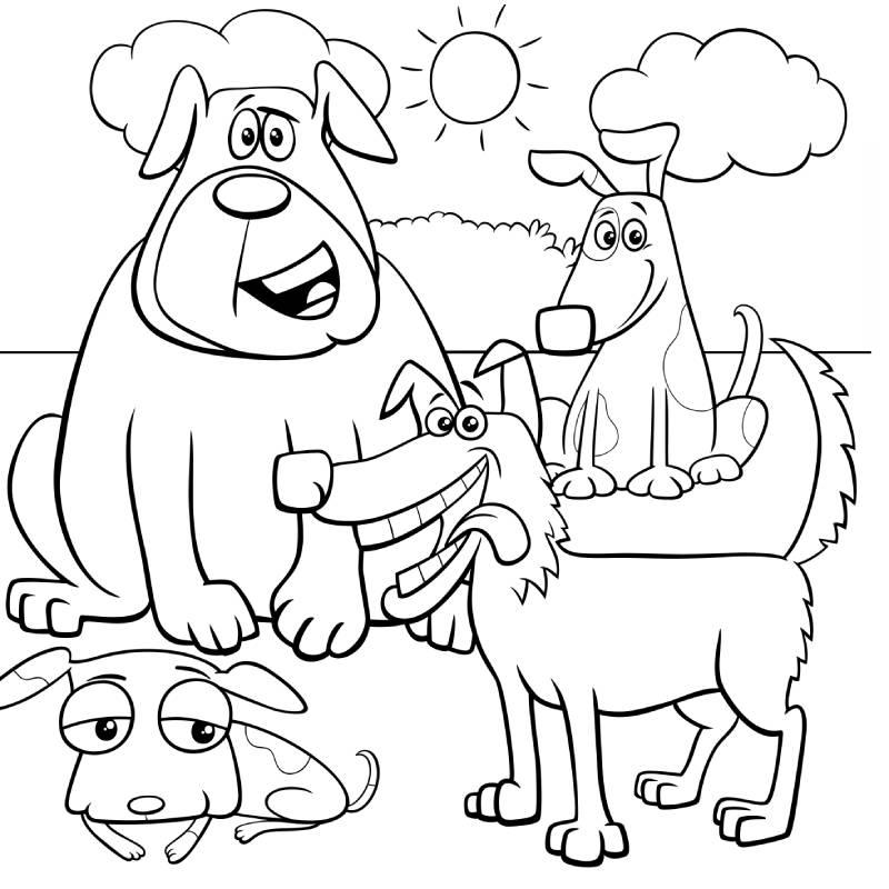 דף צביעה עם כלבים חמודים