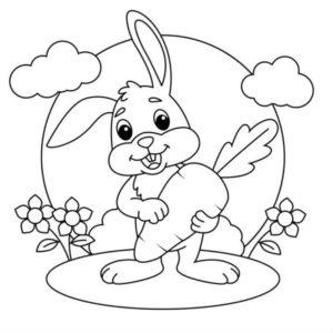 דף צביעה עם ארנב חמוד שמחזיק גזר