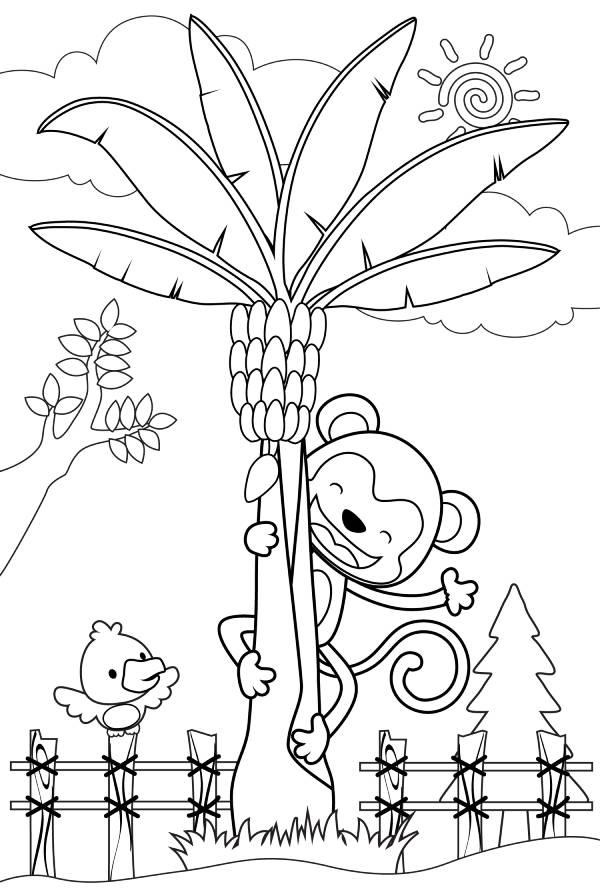 דף צביעה עם קוף ודקל