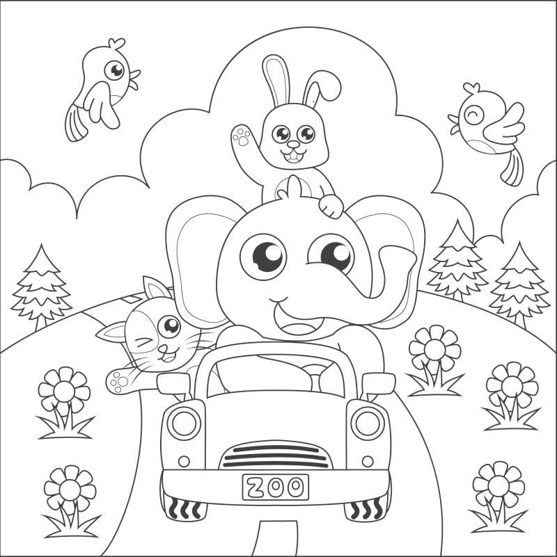 דף צביעה עם פיל באוטו