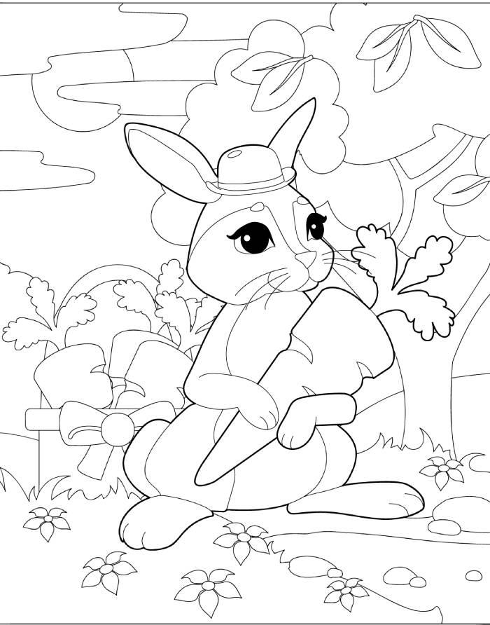 דף צביעה עם ארנב וגזר